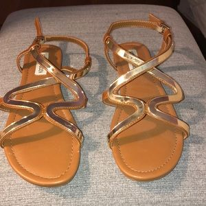 Gold and brown Steve Madden sandals